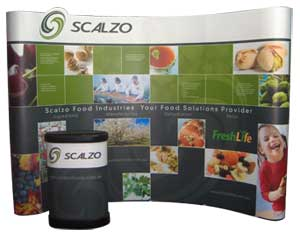 Compact pop up display, display system, trande how displays, promotional events, product launches, display event, graphic panels.